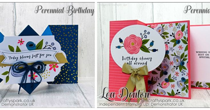 Stamping Sunday Blog Hop with Perennial Birthday Card Kit spun on it's head! #leadenton #stampinup #thecraftyspark card kit diamond fold Fancy Fold fanfare fold Perennial Birthday share stampingsunday