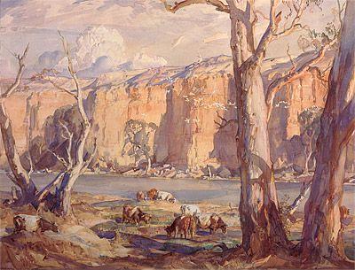 Hans HEYSEN   Murray River cliffs 1916