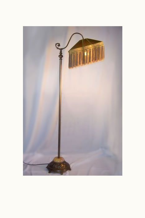 Antique Floor Lamp With Lighted Stone Base And Silk Fringe Shade, Circa 1930