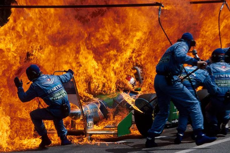 Jos Verstappen in the 1994 German Grand Prix at Hockenheim. The Dutchman managed to escape from this with just minor burns to his nose! His visor was partly open!