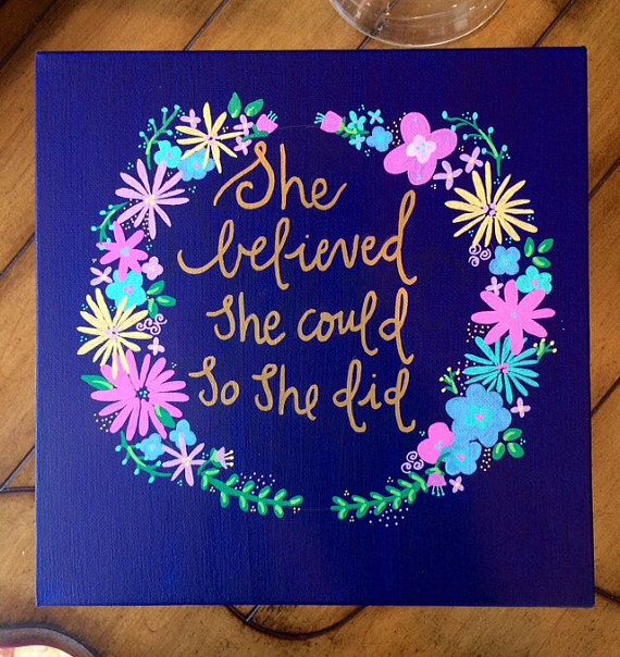 Floral Canvas - She Believed She Could So She Did - Sorority Canvas Painting - Home Decor - Wall Art