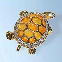 Large Turtle Pin Amber 24K Gold Swarovski Crystals Brooch Tortoise Cristal To…