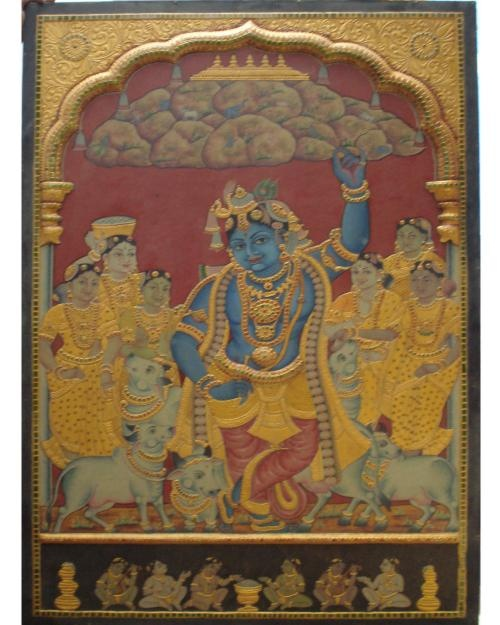Antique Govardhana Giri Krishna, Krishna is lifting Govardhan a mountain, for a week or so, on his pink