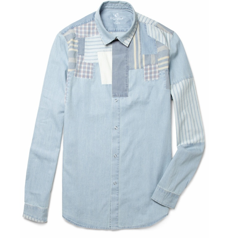Red Ear Patchwork Washed-Denim Shirt by Paul Smith|
