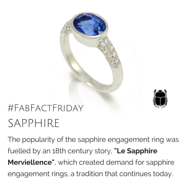 """Today's Fab Fact Friday is about the Sapphire Engagement Ring - the engagement ring as we know it today, goes way back to the 14th or 15th century, when they became popular amongst the nobility. Sapphires were favored because they symbolized romantic love, truth and commitment! The sapphire as a token of betrothal became ever more popular after """"le Sapphire Merveillance"""" was published in France in the 18th century.  #engagementring #rings #sapphire #birthstone #septemberBirthstone #jewellery…"""
