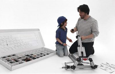 Infento offers modular construction kits for families that lets them build life-sized rides together. You only need one kit for their whole childhood.