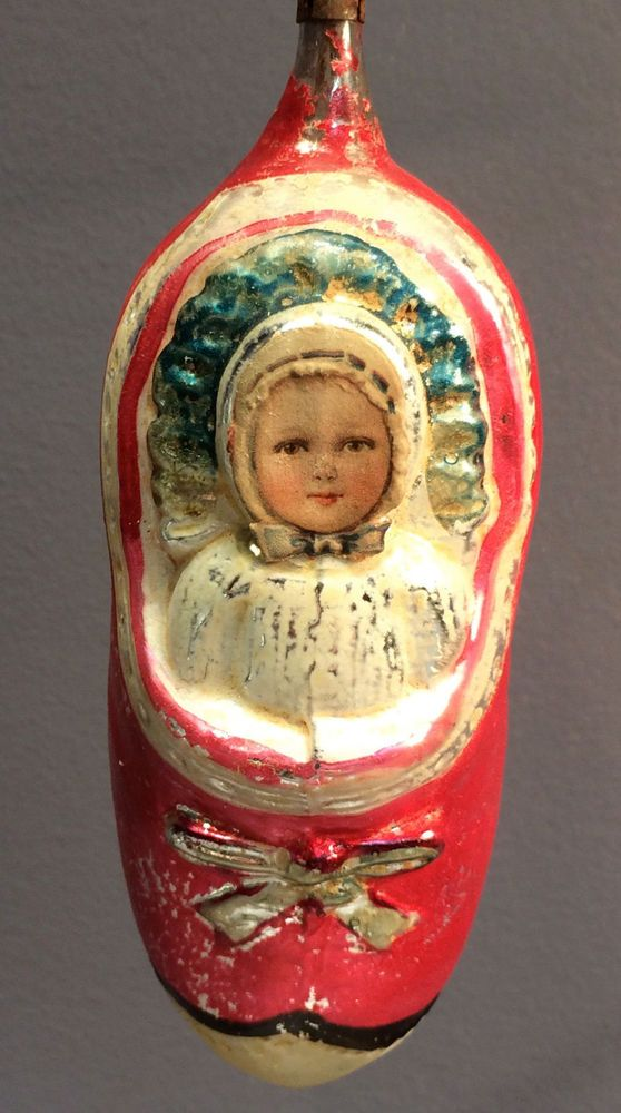 RARE Antique Vintage Christmas Very Large SCRAP FACE GIRL IN SHOE ornament 5 1/4