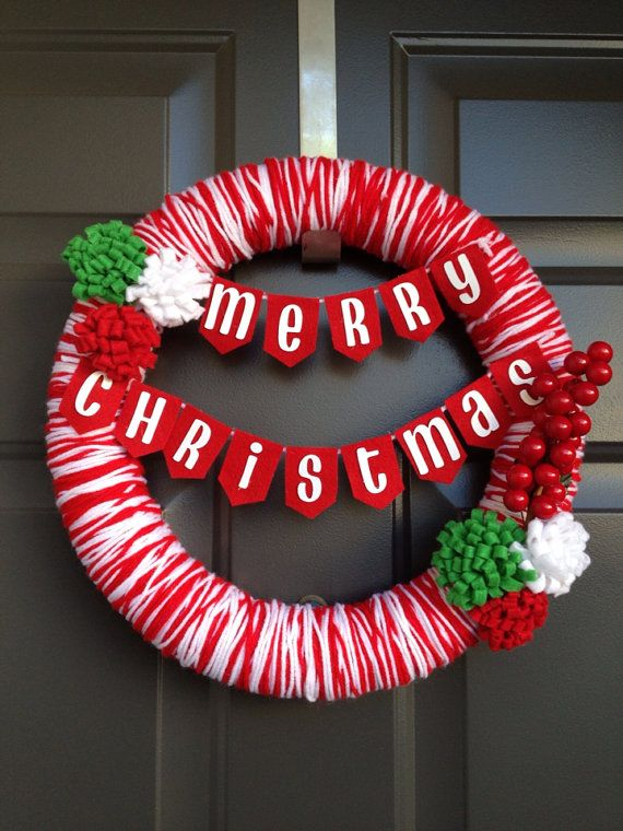 Custom Christmas Yarn Wreath on Etsy, $35.00