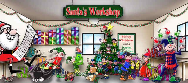 Santas workshop standard 2 car garage door part csw2c for Christmas garage door mural