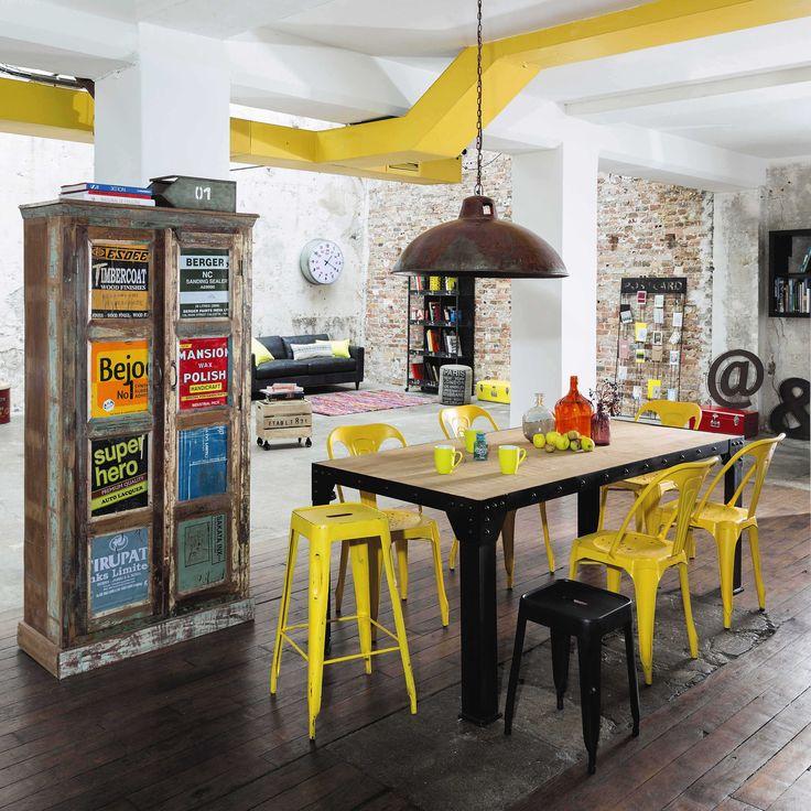Chaise indus en métal jaune Multipl's | Maisons du Monde