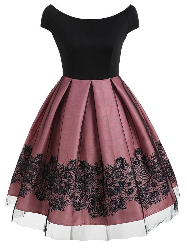 Kurzarm-Vintage-Kleid mit Mesh ,  #kleid #kurzarm #vintage