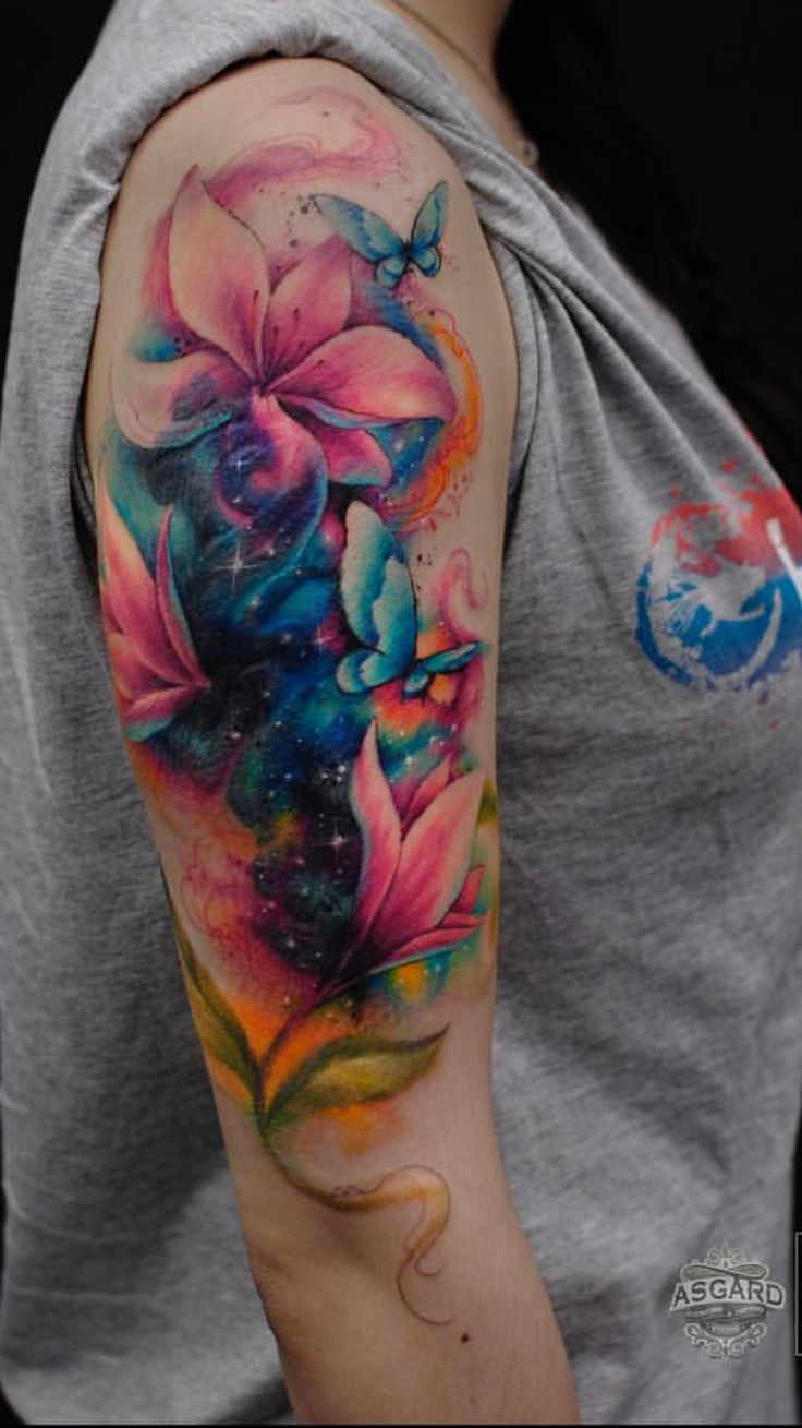 Arm tattoo watercolour flowers and butterflies
