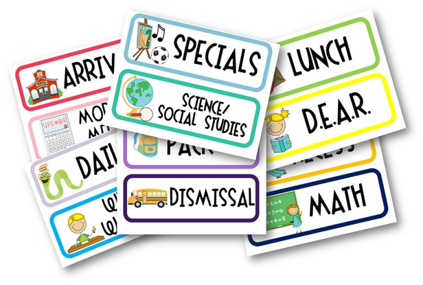 Daily schedule cards (free)!  Cute!