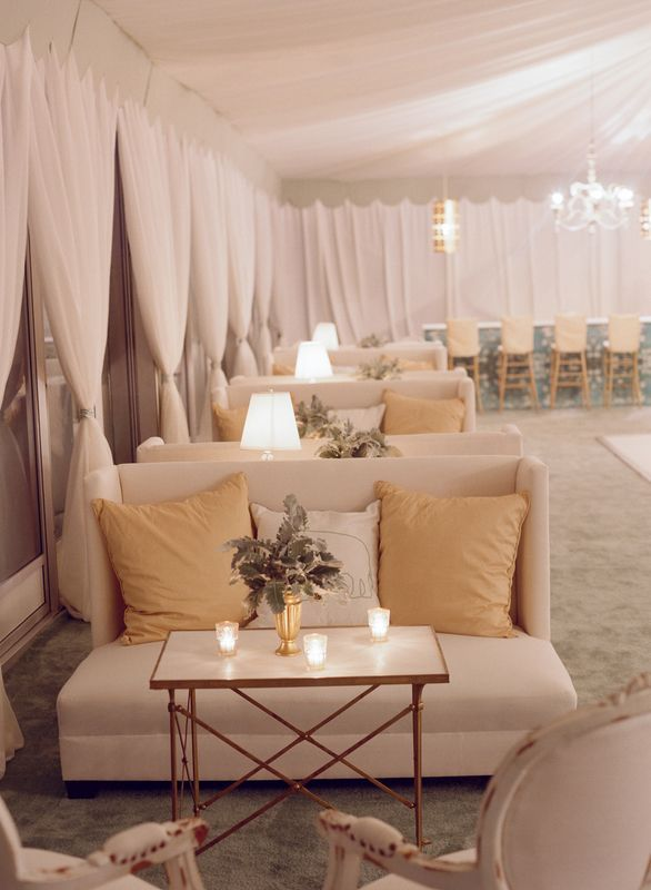Reception lounge areas at a Soiree wedding, just off of the dance floor #reception #seating #inspiration Event Design- Tara Guerard Soiree- taraguerardsoiree.com  Photography- LIz Banfield lizbanfield.com