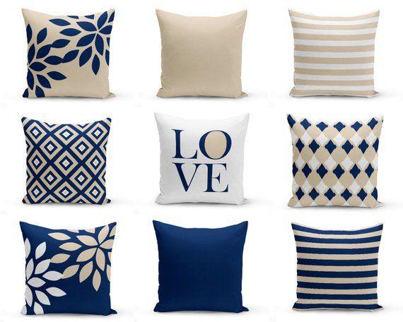 Decorative Pillow Covers Navy Blue Pillow Covers Throw Pillow Covers Blue Cushion Covers Blue Pillows Sofa Pillows Navy Throw Pillows Throw Pillow Cover Navy White Decorative Pillows