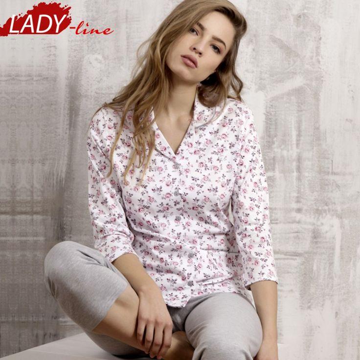 Poze Pijama Dama Maneca Trei Sferturi, Model Rose Garden, Brand Cana Nouvelle, Material Bumbac 100%, Culoare Alb/Gri, Pijamale Dama Calitate Superioara