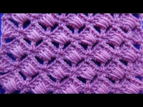 Punto tejido a crochet # 5 combinacion de abanicos con puntos garbanzos - YouTube