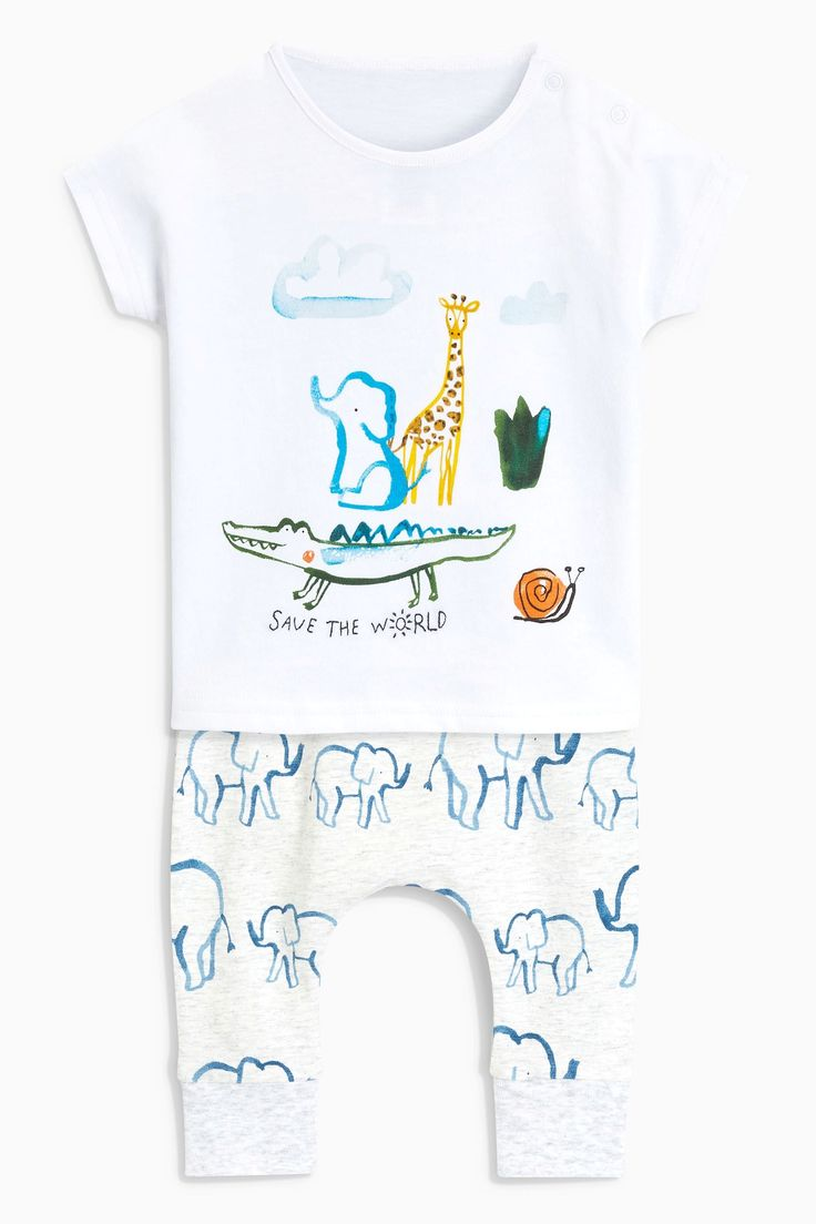 Buy Grey Elephant T-Shirt And Leggings Set (0mths-2yrs) from the Next UK online shop