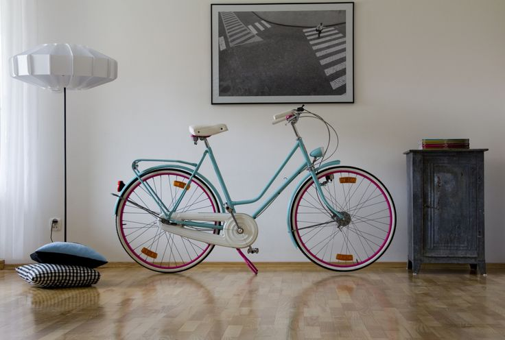 Old dutch bike repainted in vibrant colours