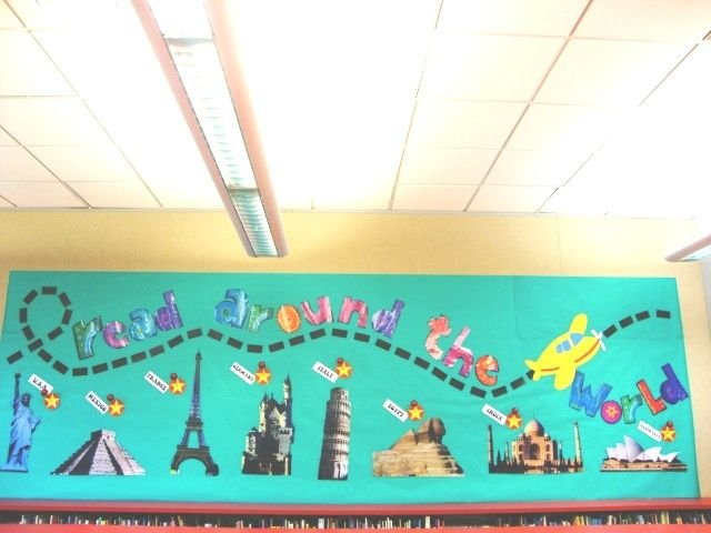"""Read Around the World"" library bulletin board"