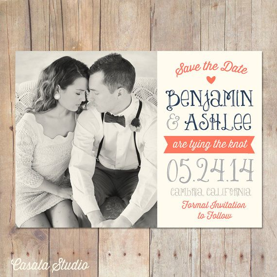 Rustic Chic Navy Coral Postcard Save the Date Announcement Card