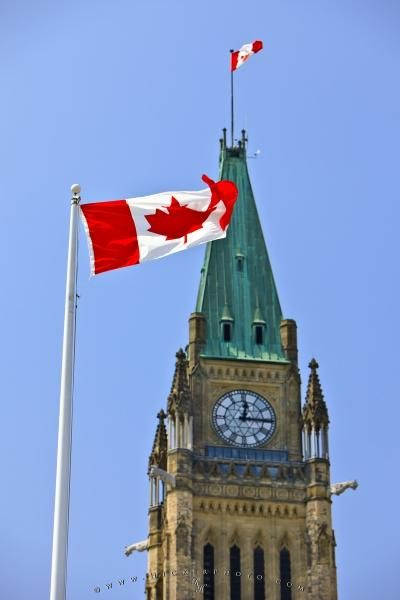 Canadian flag and Peace Tower on Parliament Hill, Ottawa, Ontario, Canada