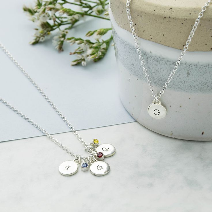 Silver Initial and Birthstone Mini Disc Necklace  Sterling Silver Birthstone INitial Jewellery Pendant