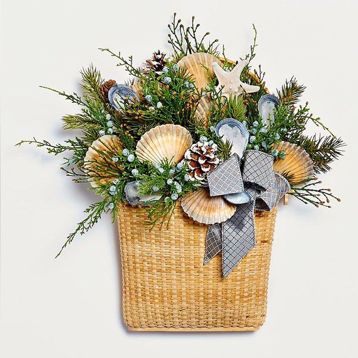 Nantucket Wall Basket with Scallop & Mussel Shells