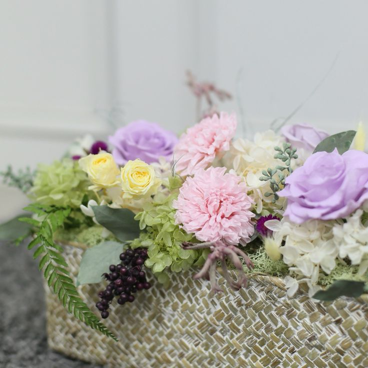 preserved-flower Korea florist  lavert kimyounjong basket flower arrangement