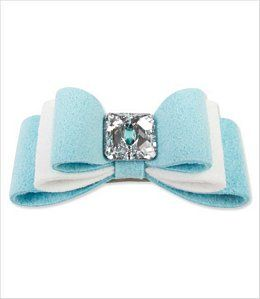 A Susan Lanci exclusive - unique color combination of Tiffi Blue and White to coordinate with the entire Tiffi's Gift line of dog harnesses and leashes. French-clip style made in the USA with genuine