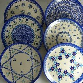 6 blandede Kage Tallerkener 16 cm. blå nuancer