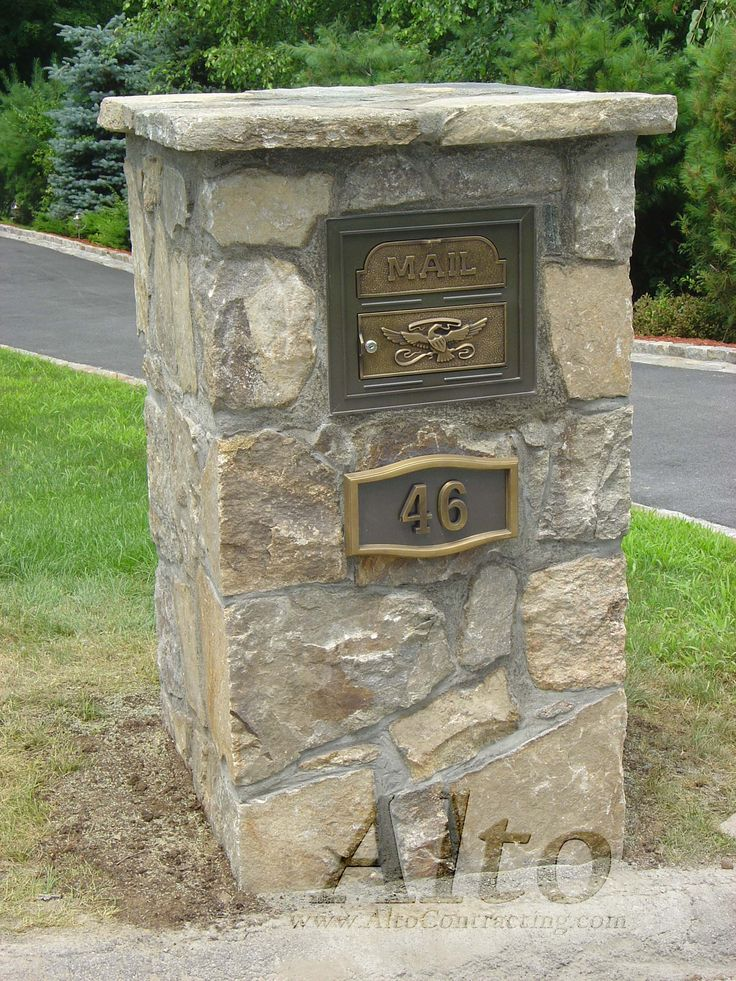 Stone Mailbox Pillars : Best images about stone pillar on pinterest brick