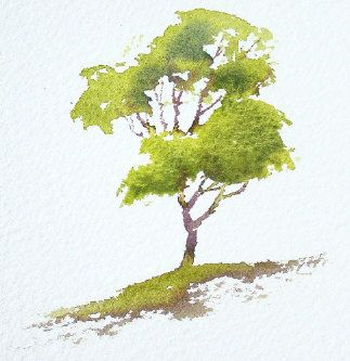 simple watercolor trees video tutorial