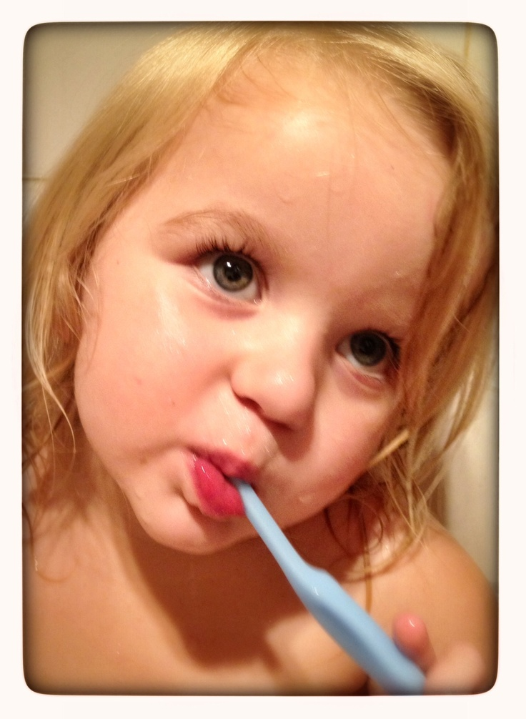 The 4 B's at night. Bath, brush, book and bed! #babyteeth