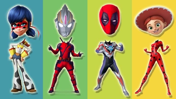 Wrong Heads Ultraman Ribut Toy Story Ladybug Miraculous Deadpool 2 Finge...