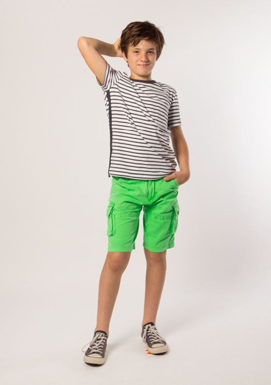 T-Shirt - Signature: Indigo + Pure White Short - Cargo: Neon Green