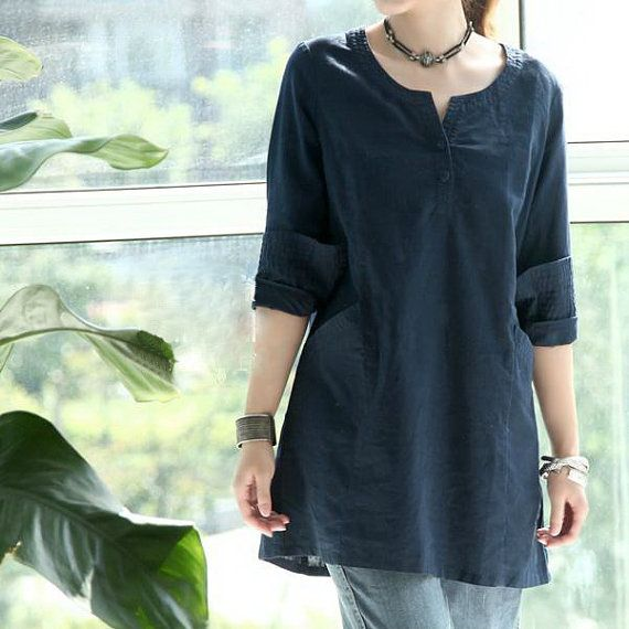 Nature of Relaxation Linen Blouse by zeniche on Etsy