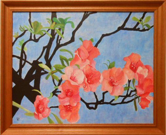 Sakura, akrilfestmény, 40x50 cm vászon