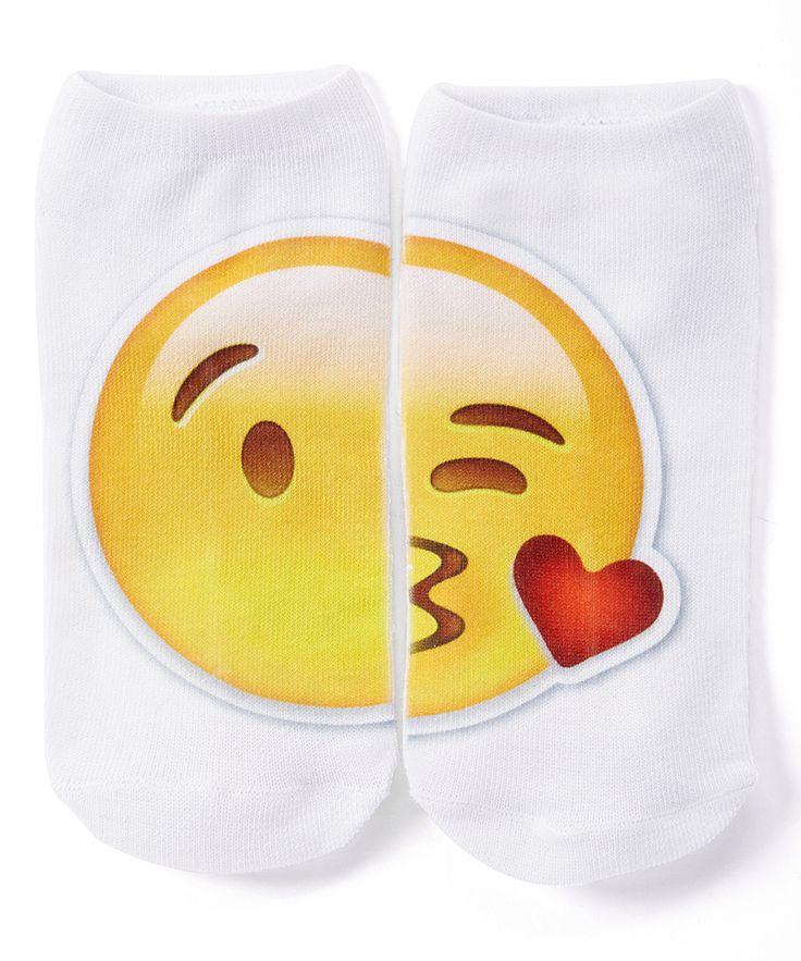 Yellow & White Kiss Emoji Socks - Kids