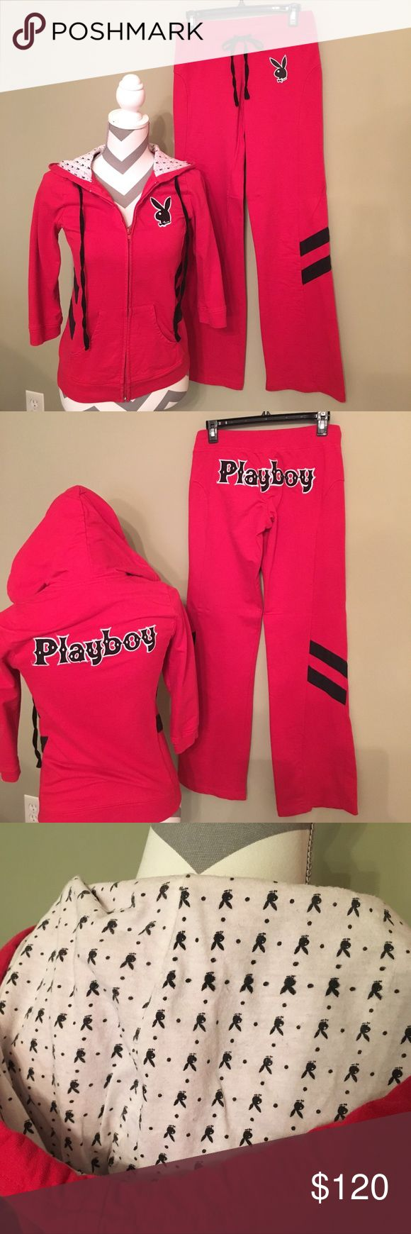 Playboy red jogging suit with black stripes. Playboy Bunny red track/jogging suit. Hoodie and pants. Worn twice! Playboy Pants Jumpsuits & Rompers