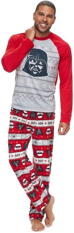 Jammies For Your Families Men's Jammies For Your Families Star Wars Darth Vader & Stormtrooper Fairisle Top & Microfleece Bottoms Pajama Set