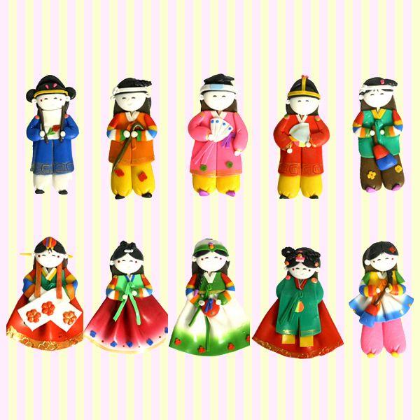 Korean Traditional Figure Colormix Fridge Magnets(10pcs)?Korean souvenir/Korean gift 칼라믹스 싱글 냉장고자석(10개묶음)/한국기념품/외국인선물/민예품