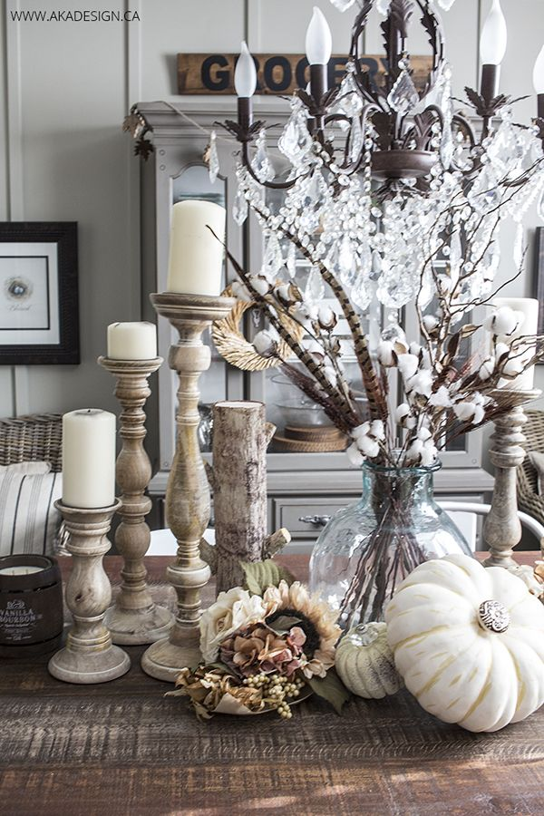 AKA Design arranges some Fall Treasures perfectly.  I am so loving the addition of pretty knobs to her pumpkins (genius!).  The Cotton blooms add a touch of whimsy.