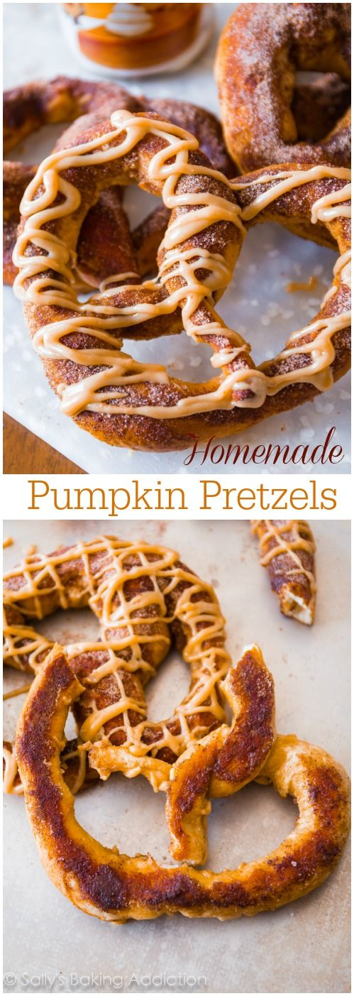 Homemade Pumpkin Pretzels - soft pretzels are so easy to make at home! Add a little pumpkin spice and a drizzle of sweet pumpkin praline glaze.