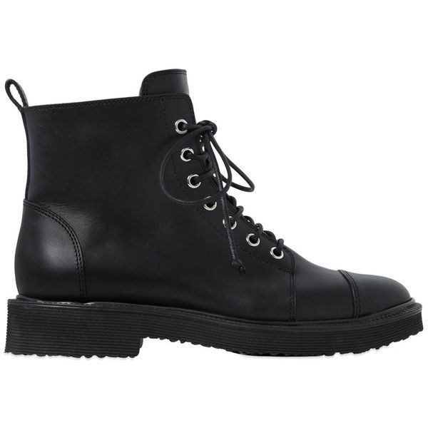 Giuseppe Zanotti Design Women 20mm Leather Ankle Combat Boots (£755) ❤ liked on Polyvore featuring shoes, boots, ankle booties, black, low heel black booties, black military boots, leather boots, army boots and military boots