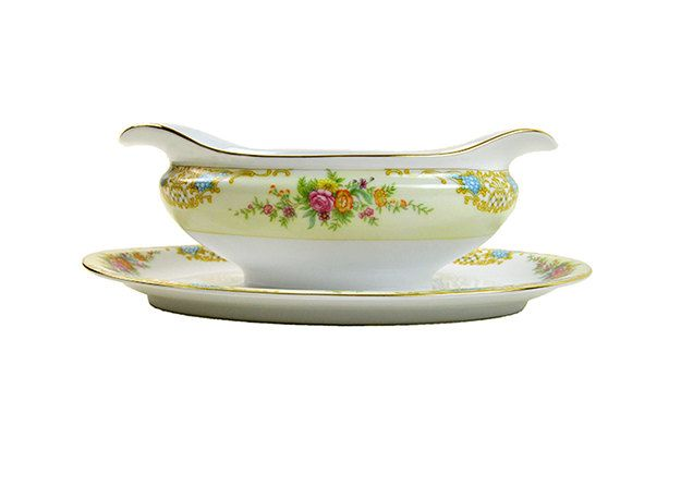 Noritake Double Spouted Gravy Boat with Attached Drip Plate Vintage Floral Orange Pink Blue Green Gold by PlumsandHoney on Etsy