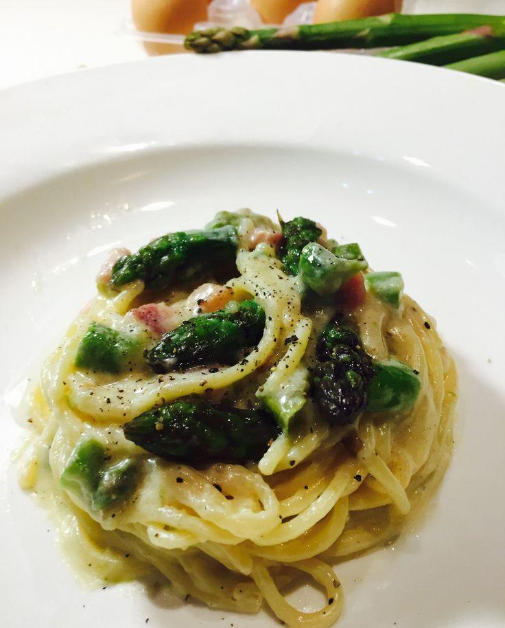 Spaghetti alla Carbonara di Asparagi - Ombra in Cucina
