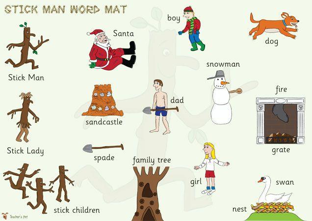 Teacher's Pet - Stick Man Word Mat - FREE Classroom Display Resource - EYFS, KS1, KS2, stickman, julia, donaldson, christmas, santa, wordmat...