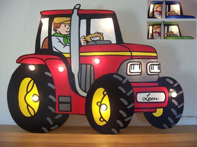 Wandlampen - Lampe Traktor mit Namen - ein Designerstück von lampenfieber17 bei DaWanda