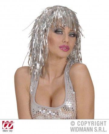 perruque pas chère à paris, perruques femmes, perruques de déguisement, perruque disco, perruque lamé, perruque argent Perruque Lamé, Argent